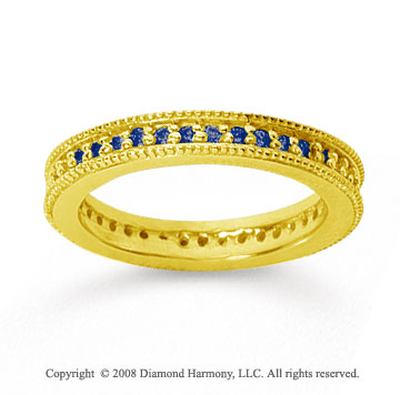 1/2 Carat Sapphire 14k Yellow Gold Milgrain Prong Eternity Band