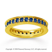 1 Carat Sapphire 14k YelloWhite Gold Milgrain Prong Eternity Band