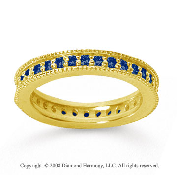 3/4 Carat Sapphire 18k Yellow Gold Milgrain Prong Eternity Band
