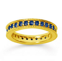 1 Carat Sapphire 18k YelloWhite Gold Milgrain Prong Eternity Band