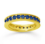 1 1/4 Carat Sapphire 18k Yellow Gold Milgrain Prong Eternity Band