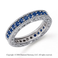1 Carat Sapphire Platinum Filigree Prong Eternity Band