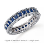 1 1/4 Carat Sapphire Platinum Filigree Prong Eternity Band