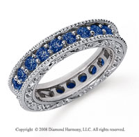 1 1/2 Carat Sapphire Platinum Filigree Prong Eternity Band