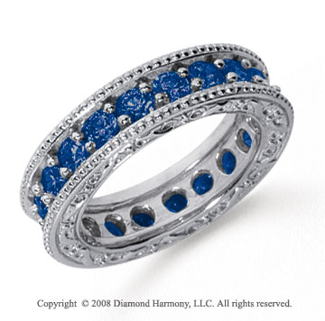 2 1/2 Carat Sapphire Platinum Filigree Prong Eternity Band