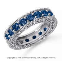 3 Carat Sapphire Platinum Filigree Prong Eternity Band