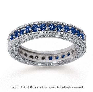 1 Carat Sapphire 14k White Gold Filigree Prong Eternity Band