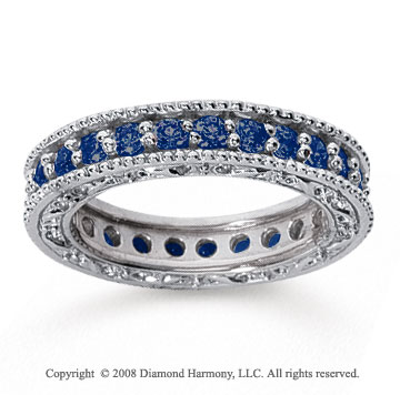 1 1/4 Carat Sapphire 14k White Gold Filigree Prong Eternity Band