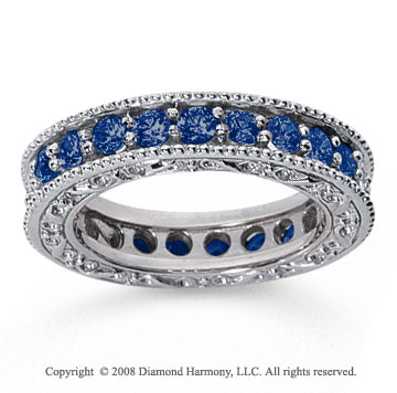 1 1/2 Carat Sapphire 14k White Gold Filigree Prong Eternity Band