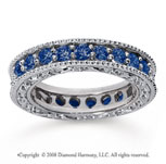 1 1/2 Carat Sapphire 18k White Gold Filigree Prong Eternity Band