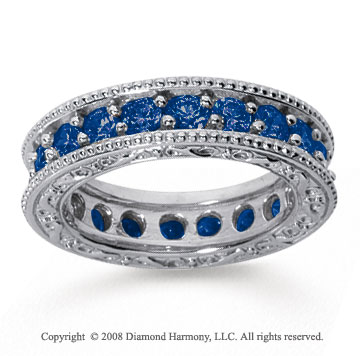 2 Carat Sapphire 18k White Gold Filigree Prong Eternity Band