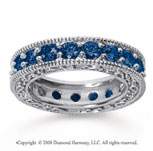 3 Carat Sapphire 18k White Gold Filigree Prong Eternity Band