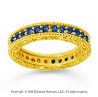 1 Carat Sapphire 14k Yellow Gold Filigree Prong Eternity Band