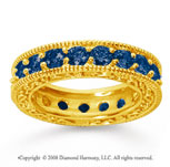 3 Carat Sapphire 14k Yellow Gold Filigree Prong Eternity Band