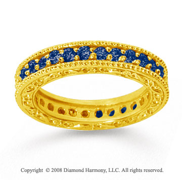 1 Carat Sapphire 18k Yellow Gold Filigree Prong Eternity Band