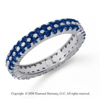 1 1/2 Carat Sapphire Platinum Double Row Eternity Band