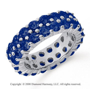 5 1/2 Carat Sapphire Platinum Double Row Eternity Band