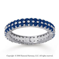 1 1/2 Carat Sapphire 14k White Gold Double Row Eternity Band
