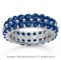 4 1/2 Carat Sapphire 14k White Gold Double Row Eternity Band