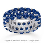 8 1/2 Carat Sapphire 14k White Gold Double Row Eternity Band