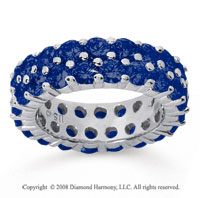 5 1/2 Carat Sapphire 18k White Gold Double Row Eternity Band