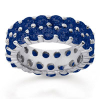 6 1/2 Carat Sapphire 18k White Gold Double Row Eternity Band
