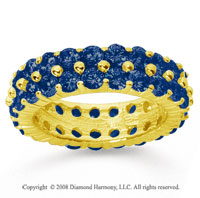 4 1/2 Carat Sapphire 14k Yellow Gold Double Row Eternity Band