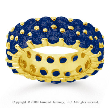 6 1/2 Carat Sapphire 14k Yellow Gold Double Row Eternity Band