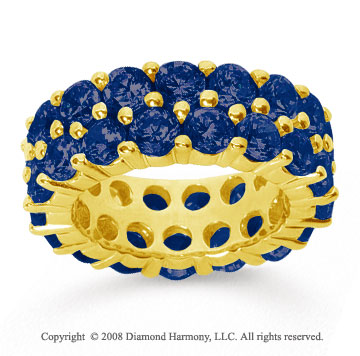 8 1/2 Carat Sapphire 14k Yellow Gold Double Row Eternity Band