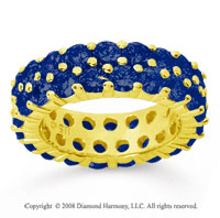 5 1/2 Carat Sapphire 18k Yellow Gold Double Row Eternity Band