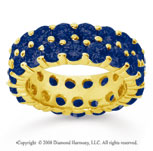 6 1/2 Carat Sapphire 18k Yellow Gold Double Row Eternity Band
