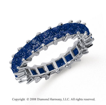 3 1/2 Carat Sapphire Platinum Princess Eternity Band