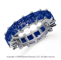 6 1/2 Carat Sapphire Platinum Princess Eternity Band