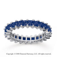 2 1/2 Carat Sapphire 14k White Gold Princess Eternity Band