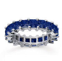 4 3/4 Carat Sapphire 14k White Gold Princess Eternity Band