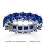 6 1/2 Carat Sapphire 14k White Gold Princess Eternity Band
