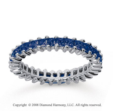 1 1/2 Carat Sapphire 18k White Gold Princess Eternity Band