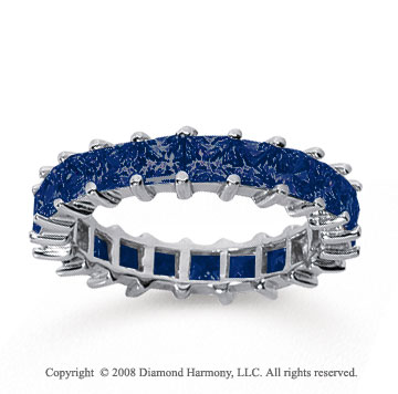 3 1/2 Carat Sapphire 18k White Gold Princess Eternity Band