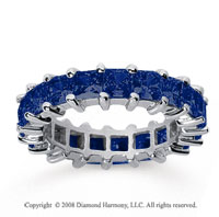 4 3/4 Carat Sapphire 18k White Gold Princess Eternity Band