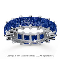 6 1/2 Carat Sapphire 18k White Gold Princess Eternity Band