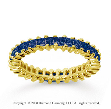 1 1/2 Carat Sapphire 14k Yellow Gold Princess Eternity Band