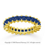 2 1/2 Carat Sapphire 14k Yellow Gold Princess Eternity Band