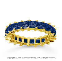 3 1/2 Carat Sapphire 14k Yellow Gold Princess Eternity Band