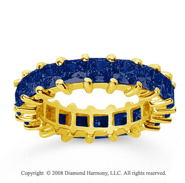 4 3/4 Carat Sapphire 14k Yellow Gold Princess Eternity Band
