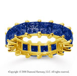 6 1/2 Carat Sapphire 14k Yellow Gold Princess Eternity Band