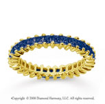 1 1/2 Carat Sapphire 18k Yellow Gold Princess Eternity Band