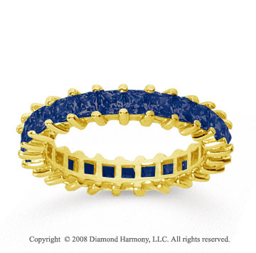 2 1/2 Carat Sapphire 18k Yellow Gold Princess Eternity Band