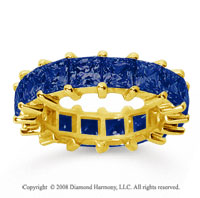 6 1/2 Carat Sapphire 18k Yellow Gold Princess Eternity Band