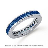 3/4 Carat Sapphire Platinum Princess Channel Eternity Band