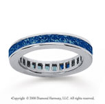 1 1/2 Carat Blue Sapphire 14k White Gold Princess Channel Eternity Band